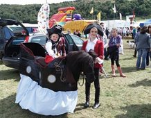Anna, Rebecca Davis and Rhuri about to enter the fancy dress at Kinross Show.