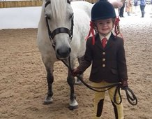 3 year old Imogen Davies with Cranford Air Frost ready for first young handlers.