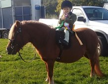 Hollie Archer age 2 at her first ever competition riding her veteran pony Tango